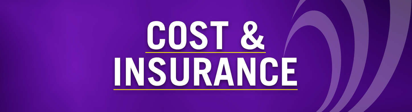Cost & Insurance in front of purple background